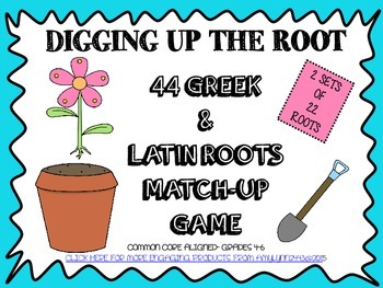 Greek and Latin Roots Match-Up Concentration Card Games (2 Sets of 22 Cards)