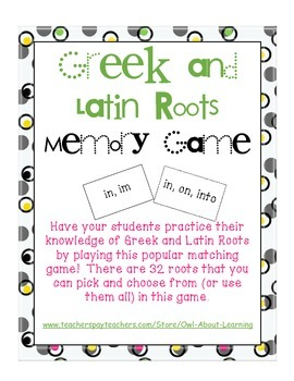 Greek and Latin Roots Memory/Matching Game!
