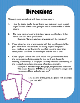 Greek and Latin Roots Quartet Card Game