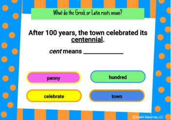 Greek and Latin Roots Set 1 - Boom Cards