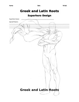 Greek and Latin Roots Superhero Template- Female