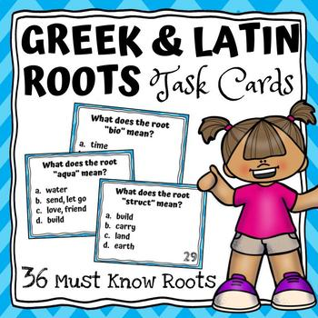 Greek and Latin Roots Task Cards {36 Most Commonly Used!}