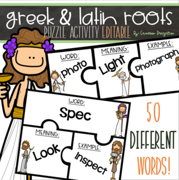 Greek and Latin Roots Word Card Puzzle Matching Game Activity Editable
