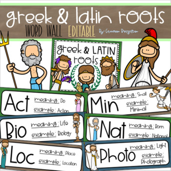 Greek and Latin Roots Word Wall Bulletin Board Decoration Editable