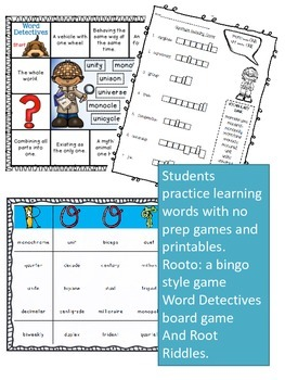 Greek and Latin Roots Word Work
