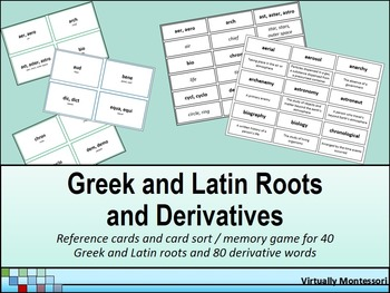Greek and Latin Roots and Derivatives: Reference Cards and Card Sort