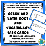 Greek and Latin Roots and Vocabulary Definition Task Cards