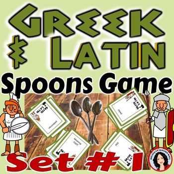 Greek and Latin Spoons Game 3 Games Included