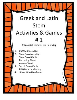 Greek and Latin Stem Activities Pack #1