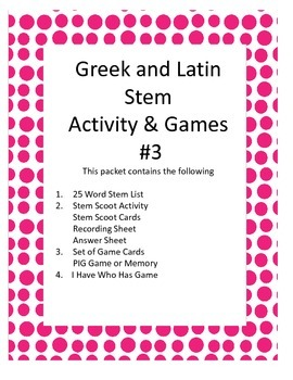 Greek and Latin Stem Activities Pack #3
