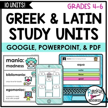 Greek and Latin Roots, Greek and Latin Prefixes, Greek Roots, Latin Roots, from Rockin Resources, available on TpT