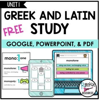 Greek and Latin Study- Unit 1