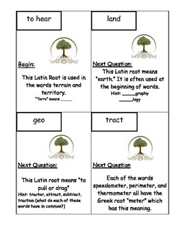 Greek and Latin Vocabulary Root Word Scavenger Hunt L.4.4, L.5.4