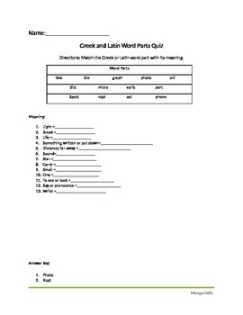 Greek and Latin Word Part Quiz