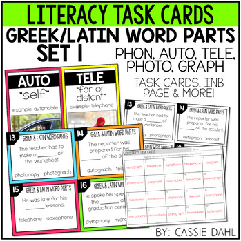 Greek and Latin Word Parts Task Cards (Set 1)