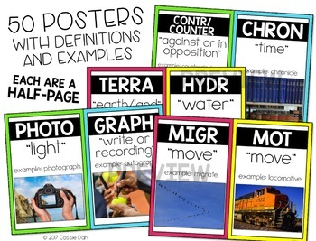 Greek and Latin Word Parts Task Cards (BUNDLE)