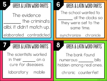 Greek and Latin Word Parts Task Cards (Set 10)