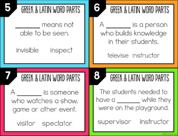 Greek and Latin Word Parts Task Cards (Set 2)