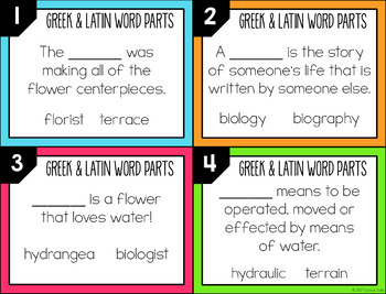 Greek and Latin Word Parts Task Cards (Set 3)