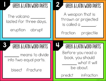 Greek and Latin Word Parts Task Cards (Set 4)