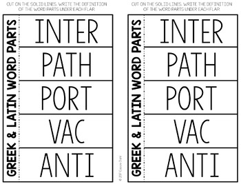 Greek and Latin Word Parts Task Cards (Set 5)