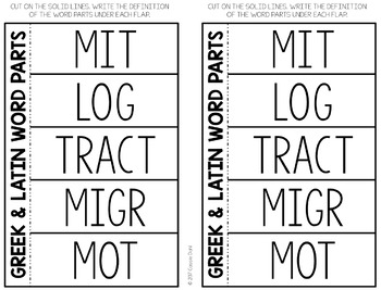 Greek and Latin Word Parts Task Cards (Set 6)