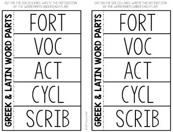 Greek and Latin Word Parts Task Cards (Set 7)