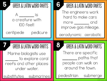 Greek and Latin Word Parts Task Cards (Set 8)