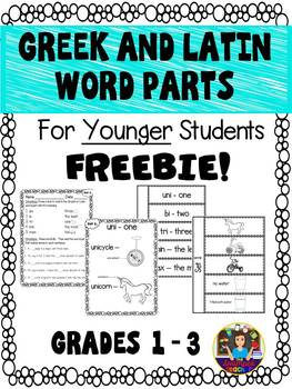 Greek and Latin Word Parts for Younger Children -FREEBIE!