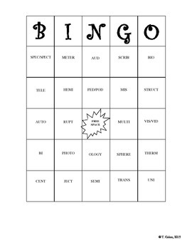 Greek and Latin Word Roots BINGO game