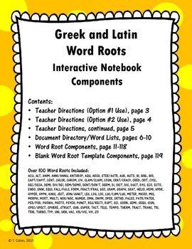 Greek and Latin Word Roots Interactive Notebook Components--over 100 roots!