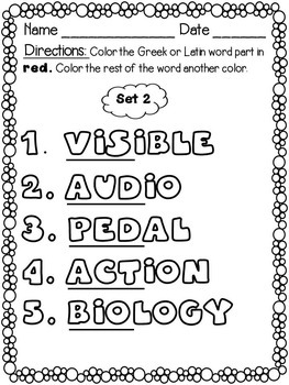 Greek and Latin Word Parts for Younger Students