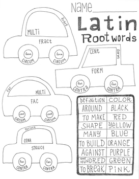 Greek and Latin root words ~color by Latin root words ~NO