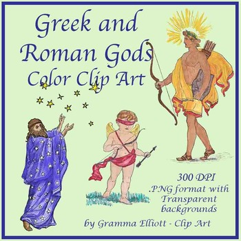 Greek and Roman Mythology Clip Art - Gods - Realistic Vintage Style in Color