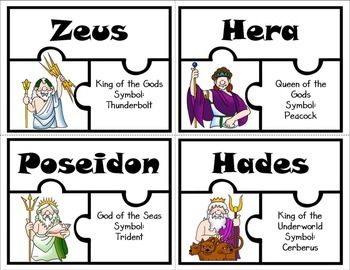 Greek and Roman Gods and Goddesses Puzzle Activity
