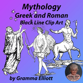 Greek and Roman Mythology Clip Art in Black Line Realistic Vintage Style