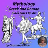 Greek and Roman Mythology Clip Art in Black Line Realistic Vintage Style