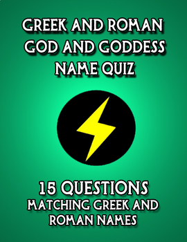 Greek and Roman Mythology God and Goddess Name Matching Quiz