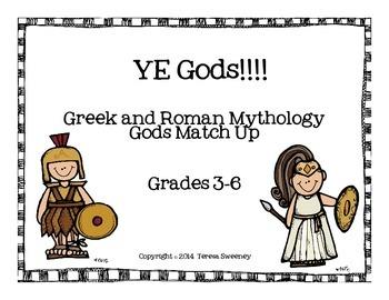 """Greek and Roman Mythology """"Gods Match Up"""" Task Cards"""