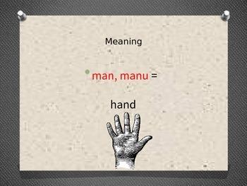 """Greek/Latin Root Word """"Man/Manu"""" Powerpoint"""