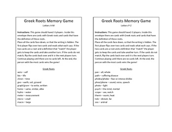 Greek/Latin Roots Go Fish and Memory Game