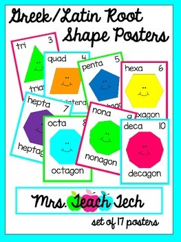 Greek/Latin Roots Shape Posters [White Series]
