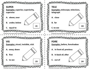 Greek/Latin Roots and Prefixes Task Cards (SET 2)