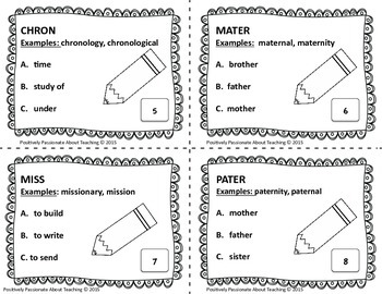 Greek/Latin Roots and Prefixes Task Cards (SET 3)