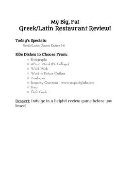 Greek/Latin Word Stems Unit with Lesson Activities & Asses