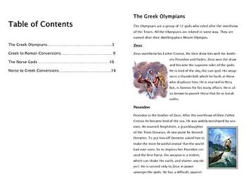 Greek/Roman & Norse Mythological Gods Booklet