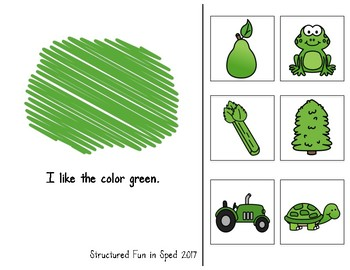 Green Adapted Book for Preschool, Pre-K and Special Needs