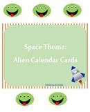 Space Theme: Green Alien Calendar Card