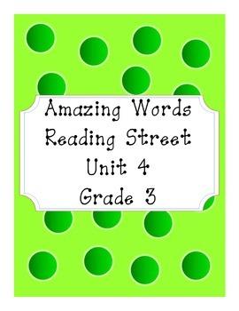 Reading Street Amazing Words Unit 4-Grade 3 (Green Polka Dot)
