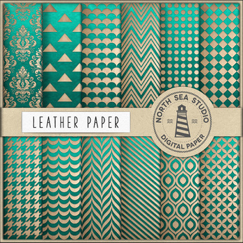 Green And Beige Leather Digital Paper